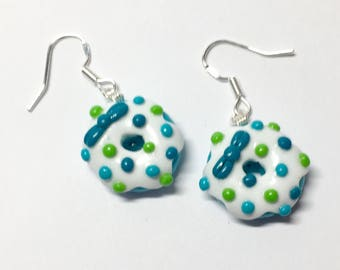 Earrings turquoise donuts