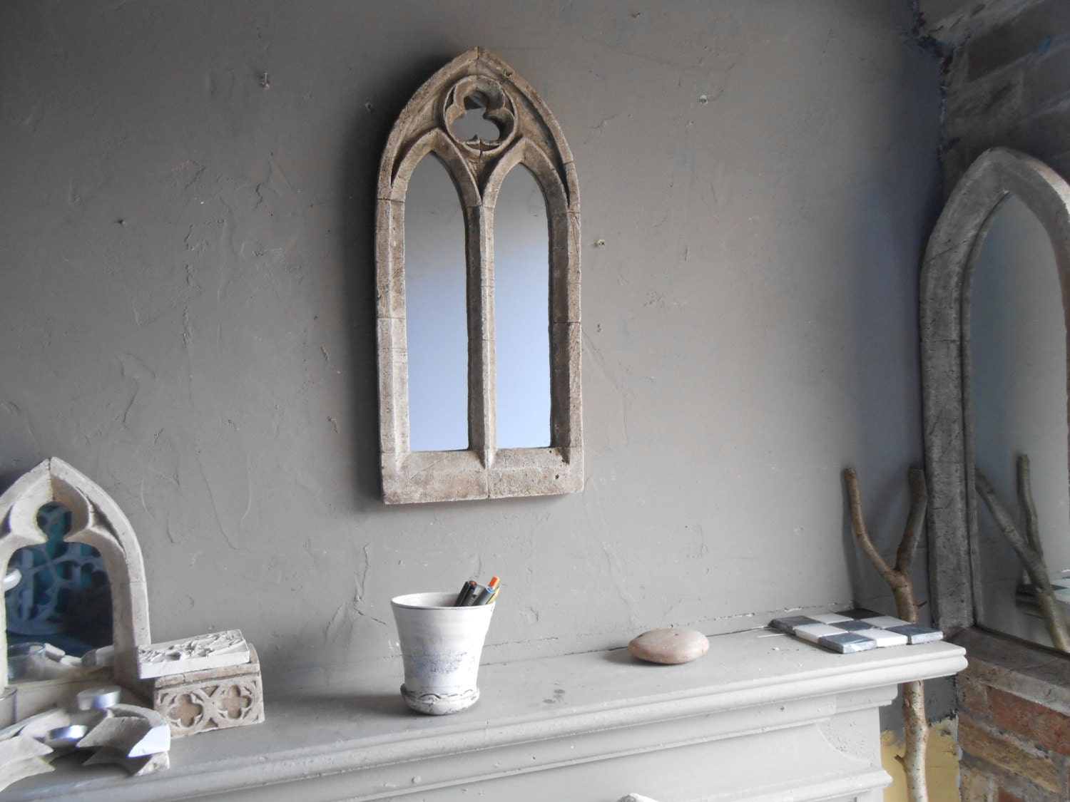 Gothic church mirrortwo archtique window frame22 inches zoom junglespirit Image collections