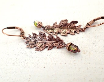 Iridescent Green and Copper Oak Leaf Dangle Earrings with Lever Backs and Little Acorns - Copper Ox Woodland Autumn Jewelry