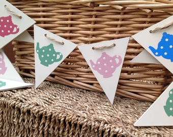 Teapot bunting, wooden bunting, flag bunting, hand painted bunting, tea party decoration, tea party bunting, kitchen bunting, wooden gift