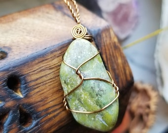 Nephrite Jade Necklace Pendant of Good Luck, Prosperity, and Peace