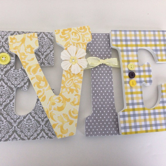 Yellow & Grey Custom Wooden Letters Personalized Nursery Name