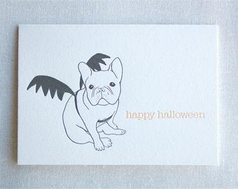French Bulldog Halloween Letterpress Card