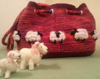 Sheep in the Meadow Felted Satchel