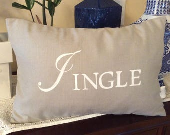 Christmas Saying Pillow Cover, Gray and White Cushion, Jingle Saying Pillow, Gray and White Christmas Decor, Holiday Accent Pillow Sham
