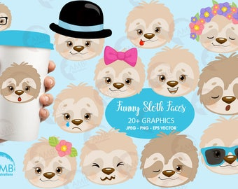 Sleepy sloth faces clipart, emoji faces, sloth emoji clipart, emojis for scrapbooking, animal emojis, commercial use, AMB-2203