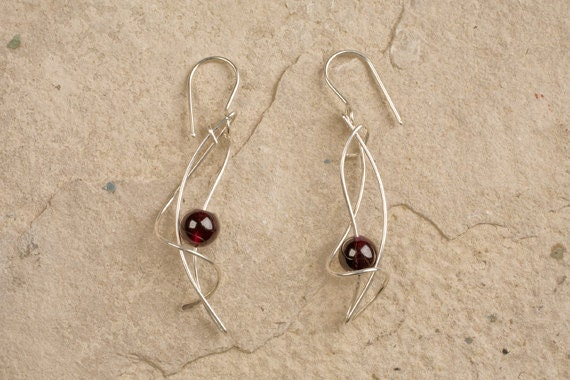 Designer Drop Earrings, CHOICE of METAL & Semi-Precious BEADS, Sterling Silver,  gold filled, Allergy Safe niobium,