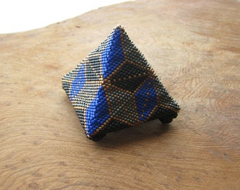 Stone Grey, Blue, Black, Rose Gold Pyramid, Sculptural Art Object, with Swarovski Crystal Legs