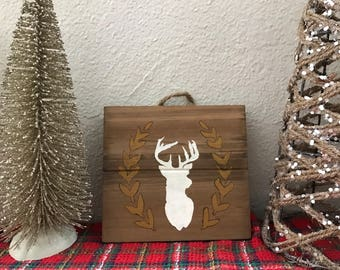 Christmas Reindeer rustic wood decor/mantle decor