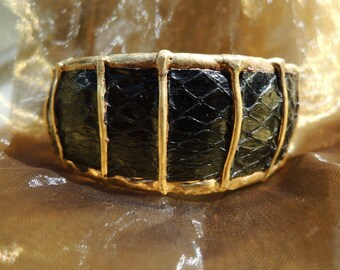 Black Faux Snakeskin Statement Bangle Bracelet