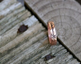 Handmade Hammered Copper Chi Rho Ring