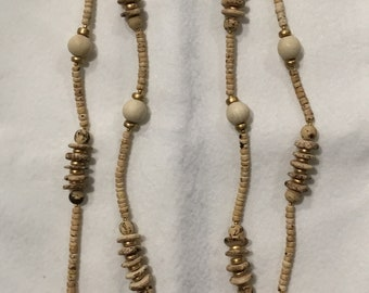 "58"" handmade wood bead necklace"