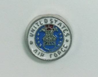 1 PC - Air Force Military Enamel Silver Charm for Floating Locket Jewelry F0175