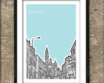 Wakefield Art Print Poster A4 Size  West Yorkshire  England UK