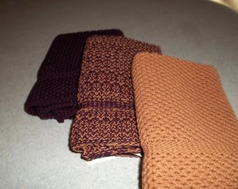 Dishcloths Knit in Cotton in Mulberry, Calfskin and Combo, Washcloth, Napkin, Dishcloth