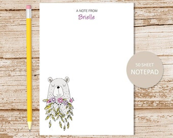 personalized notepad . bear with flowers notepad . girls note pad . personalized stationery . bear stationary . doodle art