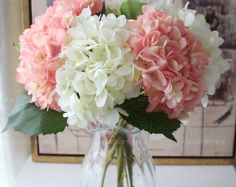 Wedding event supplies artificial flowers by handcraftsinstudio light pink flowers artificial silk hydrangea 10 flowers pink silk hydrangea for wedding center pieces bridal mightylinksfo Gallery