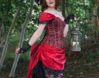 Red Steampunk Costume   Lady in Red   Corset Costume, Saloon Girl Costume, Womens Costume, Red Steampunk Dress, Gothic Bustle Outfit