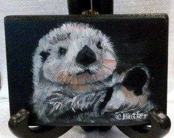 Otter,  ACEO magnet. black, white, aquatic mammal,river otter,small animal portrait,art trading card,collectible art,small art,