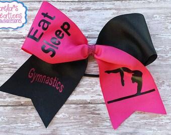 Gymnastic Hairbow,Dance Hairbow,Gymnastic Cheer Bow,Eat Sleep Gymnastic Cheer Bow,Pink and Black Gymnastic Hair Bow,Black and Pink Cheer Bow