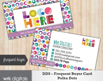 Dot Dot Smile Frequent Buyer Business Card, Polka Dots Design, Customized Business Card, Direct Sales, Fashion Consultant