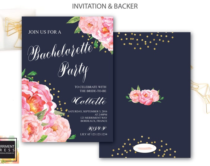 Bachelorette Party Invitation // Navy // Navy Blue // Peonies // Peony // Bridal // Pink // Gold Glitter // BORDEAUX COLLECTION