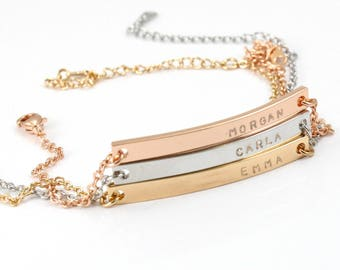 Personalized Name / Initials/ Date Bracelet - Custom Bracelet - Engraving Letters - Couples Bracelet - Gold Plated - White Gold - Rose Gold