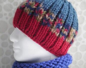 KNITTING PATTERN/ BASIL/ Mans Chunky Beanie Pattern/Knit Straight/ Mans Handknit Striped Hat/ EasyBeanie Quick Knit Extra Chunky Mans Hat