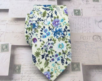 Cotton Mens Tie. Cotton Cream Purple Blue Floral Skinny Tie With Matching Pocket Square Option