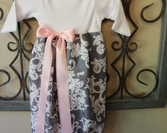 Gray and Pink Damask Print Baby Layette Gown.