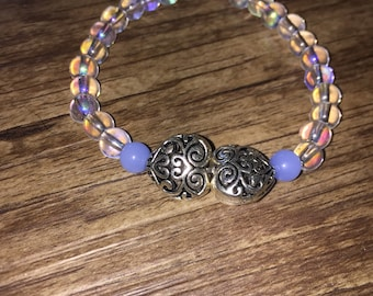 TWO hearts connected artisan bracelet