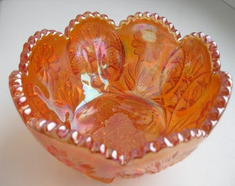 Vintage carnival glass marigold footed bowl