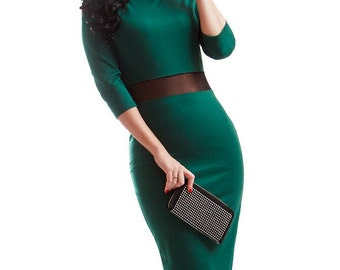 Simple emerald dress Combined dress Elegant dress Evening dress Occasion Midi dress Casual dress clothing for women