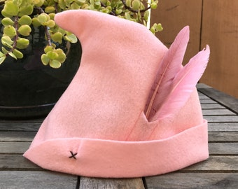 Soft Pink Peter Pan Hat with Pink Feathers