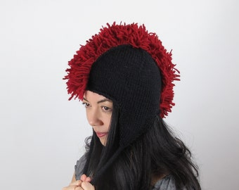 Red Mohawk Hat Cherry Red Ear Flap Hat Wool Hand Knit