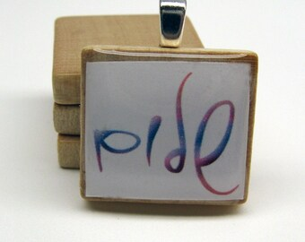 Hebrew Scrabble tile pendant - Shalom - Peace - rainbow on white