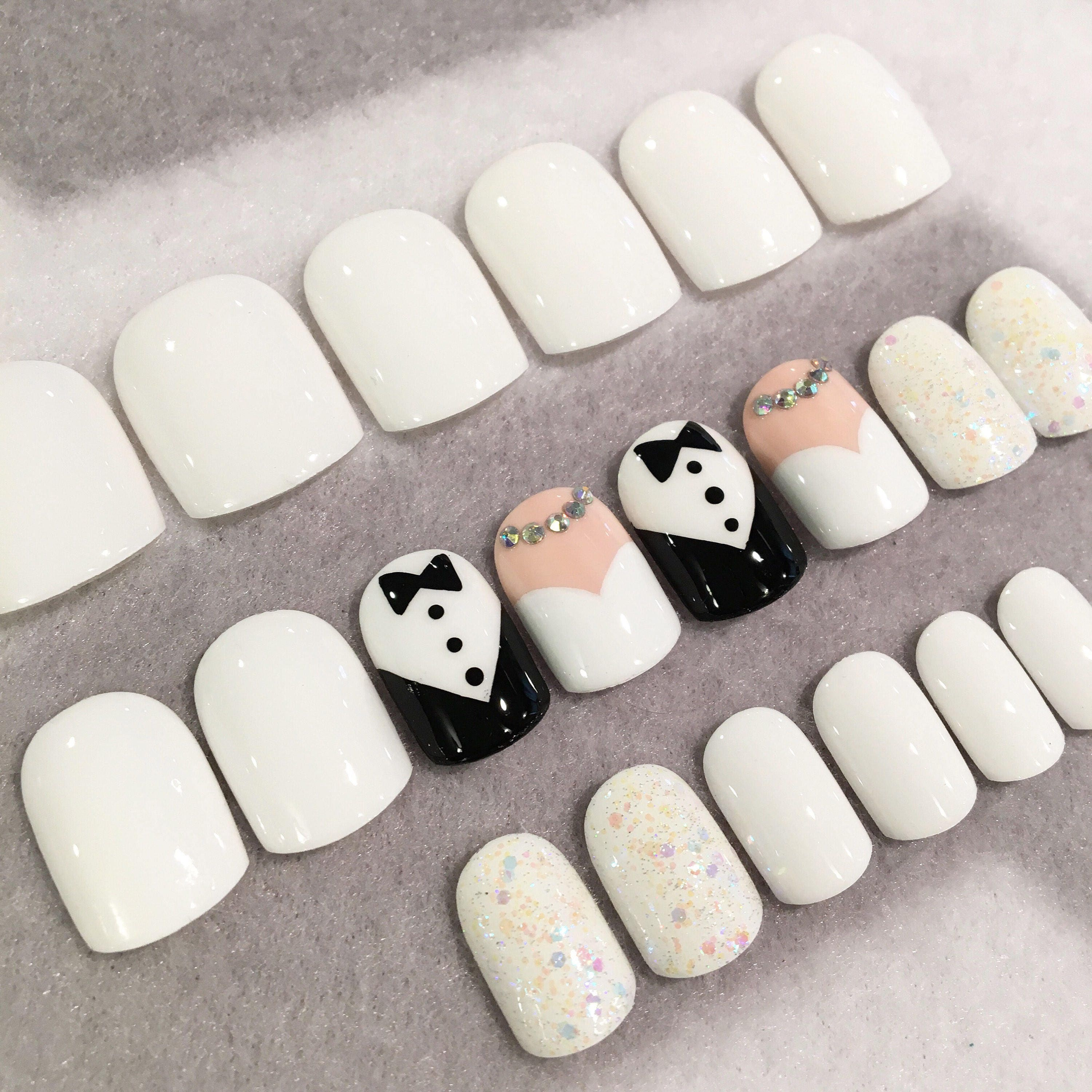 Bride And Groom Faux Nails * Fake Nails * Wedding Nails * White ...