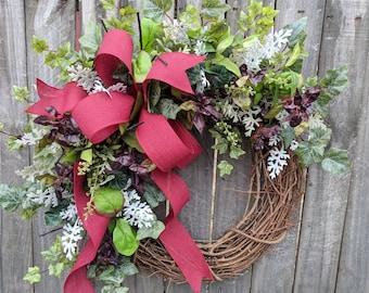 Herb Wreath - Wreath Great for All Year Round - Everyday Burgundy Wreath, Door Wreath, Front Door Wreath