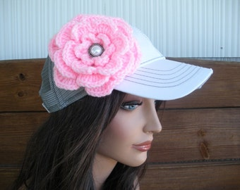 Womens Hat Trucker Hat Baseball Hat Cap Summer Accessories Women Sport Hat in White, Gray with Light pink Crochet Flower