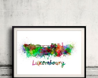 Luxembourg skyline in watercolor over white background with name of city 8x10 in. to 12x16 in. Poster art Illustration Print  - SKU 0280