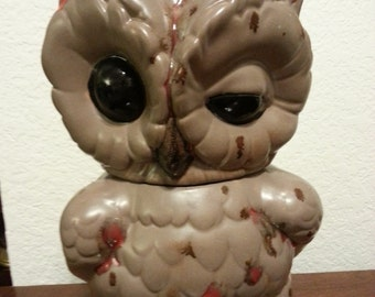 Winking Owl Ceramic Cookie Jar