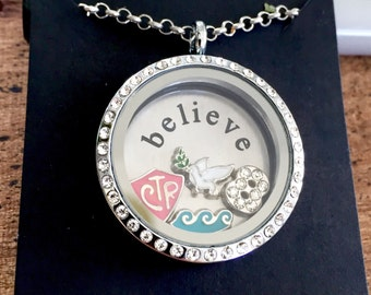 LDS Baptism Locket Necklace - Mormon CTR charm - silver believe plate - dove charm - number 8 - water wave charm