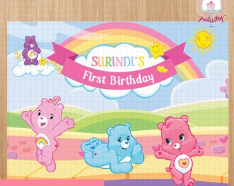 Care Bears Backdrop Banner - Printable Backdrop Banner