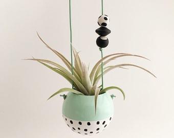 Mini Hand-Painted Hanging Planter // Mint + White Black Speckle // Succulent Planter Air Plant Planter