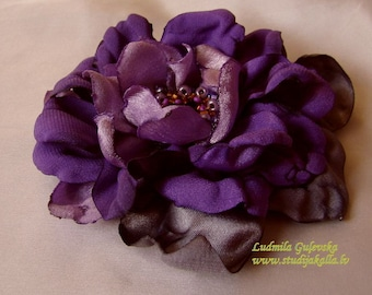 Handmade purple-violet satin flower brooch, flower clip & pin