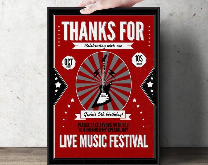 Rock star poster, sign, rock star invitation, concert ticket birthday party invitation- Music invitation- rockstar party, surprise party,