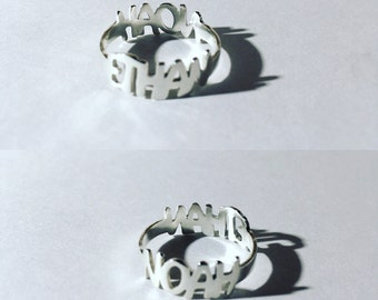 Sterling silver rings with two names. Custom rings. Double name. Handmade. inspirational gift