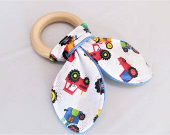 Natural Wooden Teether with Crinkles - Down on the Farm Tractors  - Neutral Baby Gift - Natural Teething Solutions