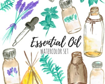 Essential Oil Clip Art - Oil Clip Art - Watercolor Clip Art - Relaxation Clip Art - Commercial Use