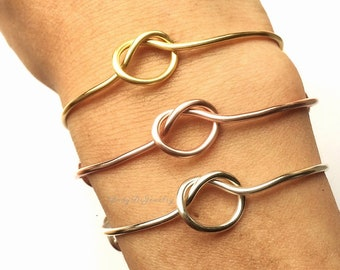 Knot Bracelet -Bridesmaid Gift Set 3 4 5 6 7 8 9 -Adjustable Tie the Knot Bangle Charms -Gold /Rose Gold /Silver -Knotted -Wedding Proposal